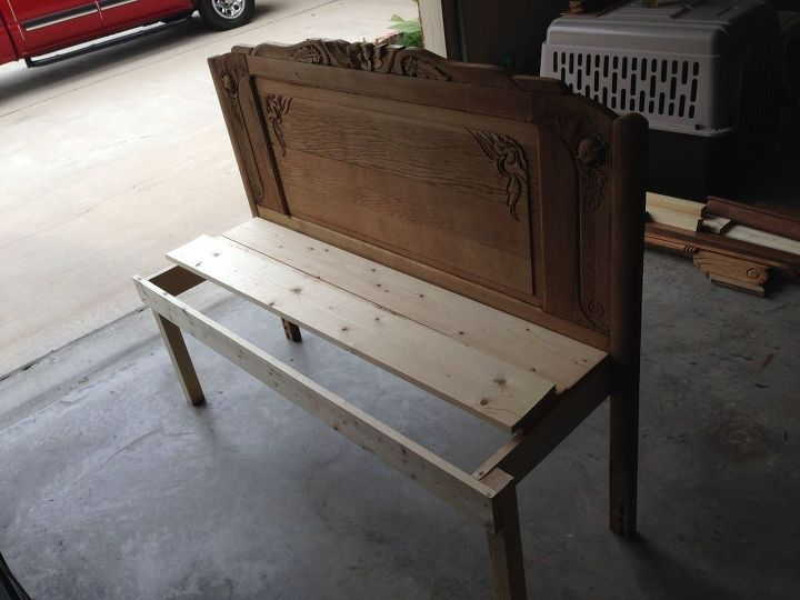 headboard bench upcycle, outdoor furniture, painted furniture, repurposing upcycling