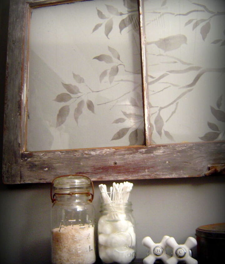 old window with a stenciled view, home decor, repurposing upcycling
