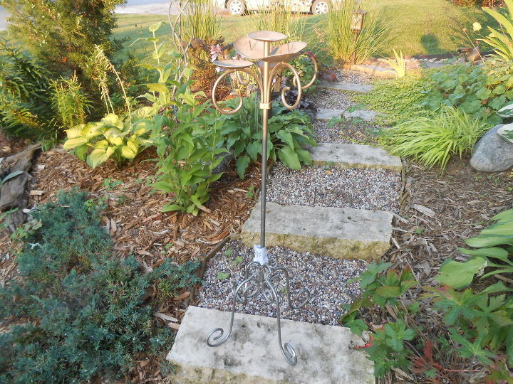 succulent birdbath candleholder repurpose garden, container gardening, flowers, gardening, repurposing upcycling, succulents