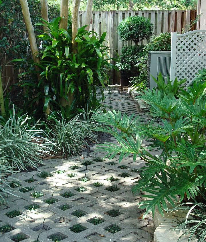 Shade loving plants; turf or matt block; polymeric sand w/dwarf mondo planted in a diamond pattern along the pathway.