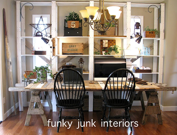 my funky pallet ladder sawhorse blogging desk whew, painted furniture, pallet, repurposing upcycling, rustic furniture, What use to be my dining room became my blogging area So I get to enjoy a good net experience along with all my junk by my side