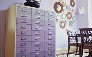 ombre file cabinet painted lavender, dining room ideas, painted furniture, repurposing upcycling, storage ideas