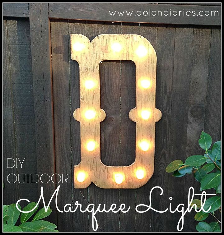 diy outdoor marquee light decor, diy, electrical, outdoor living, woodworking projects