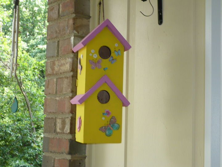 my squatters the birds, flowers, outdoor living, porches, This birdhouse has babies Shhhh don t make noise if you come up on my porch