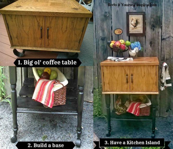 Knotty Oak Kitchen Island: Coffee Table To Kitchen Island