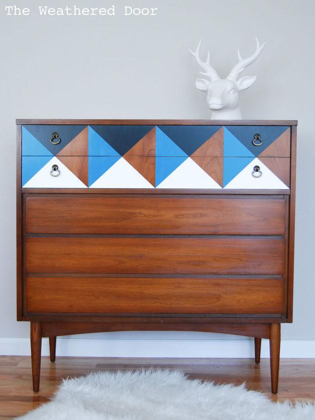 painted furniture dresser geometric mid century, painted furniture
