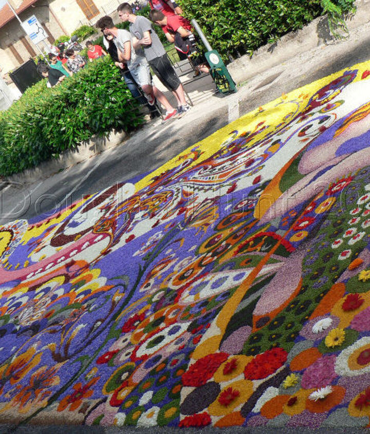 """One of the large floral carpets of Spello Italy's """"infiorata."""""""