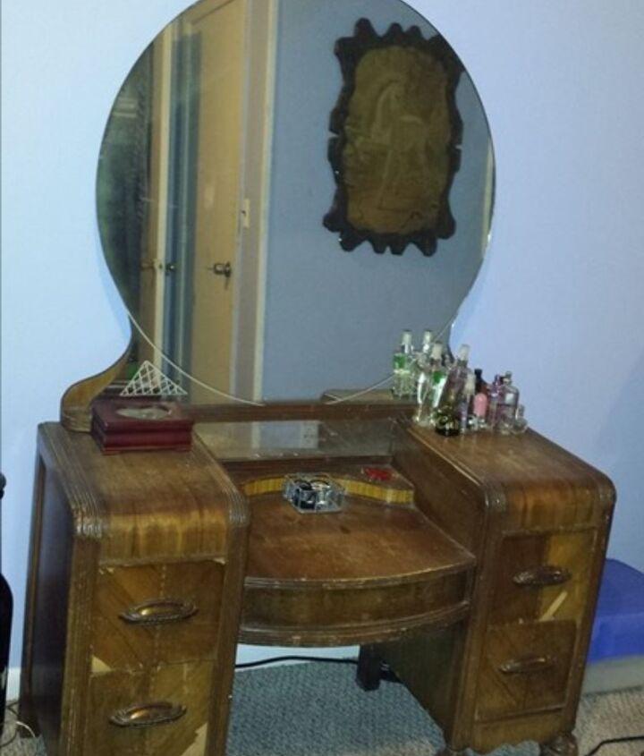 staining wood vanity vintage renew, painted furniture