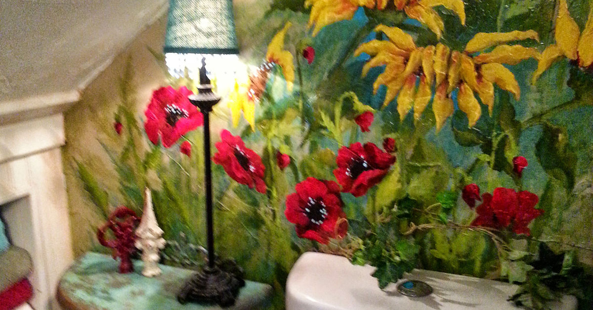 Hand Painted Flower Mural In Small Bathroom Hometalk