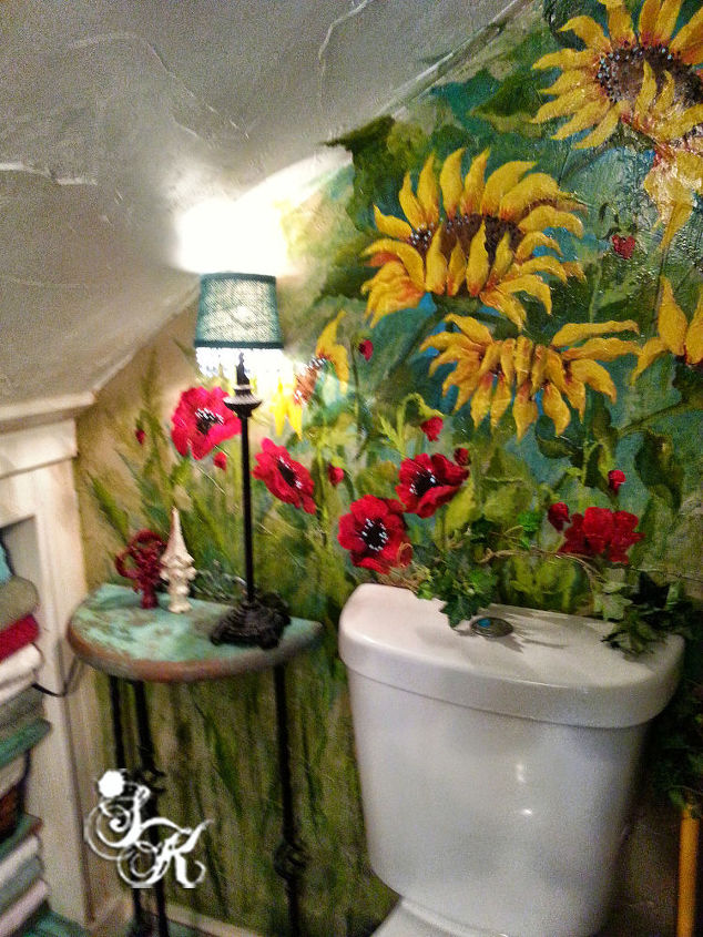 Hand Painted Flower Mural In Small Bathroom Hometalk