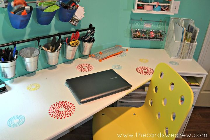 I used a lot of items from Ikea for organization and the desk is a U shaped corner desk attached to the wall