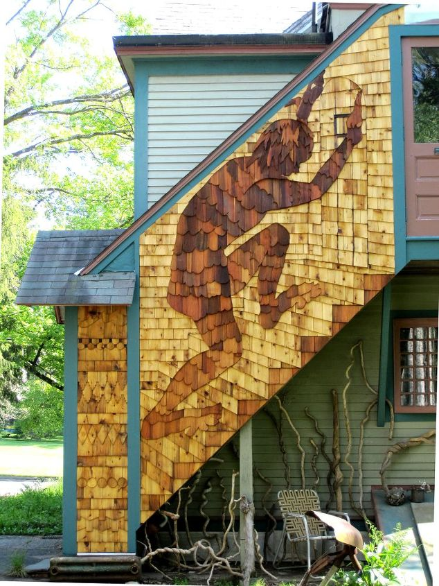 The Giant at the Back Door with siding sampler