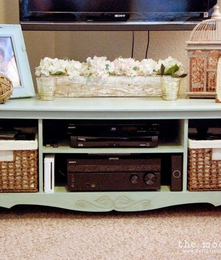 painted furniture tv console aintique entertainment center, home decor, painted furniture, repurposing upcycling