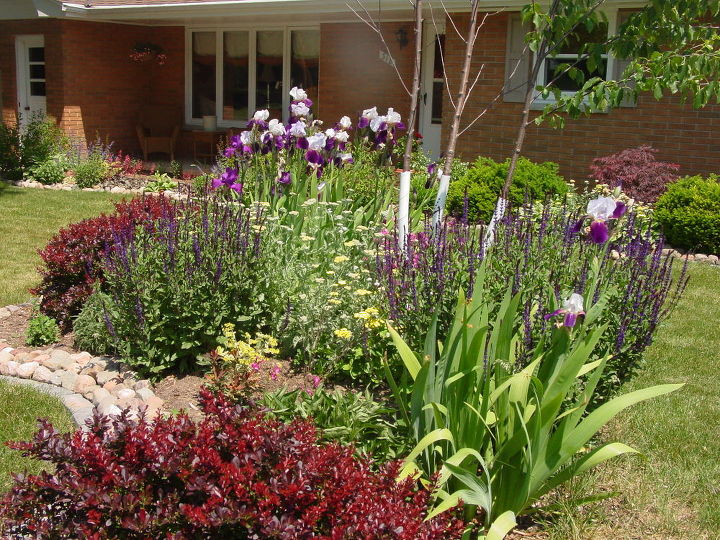 my gardens my breath of fresh air, flowers, gardening, The front bed Mostly colorful texture