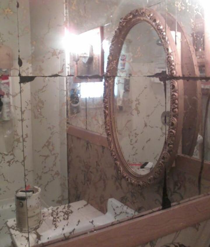 q i would love to cover the mirror tiles that are in my very small bathroom, bathroom ideas, small bathroom ideas, tiling