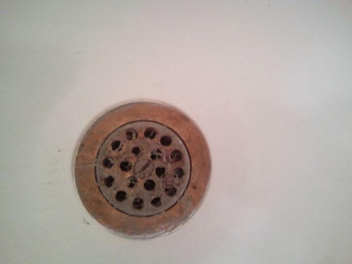 q how to refurbish tub drain, bathroom ideas, cleaning tips, Funky tub drain