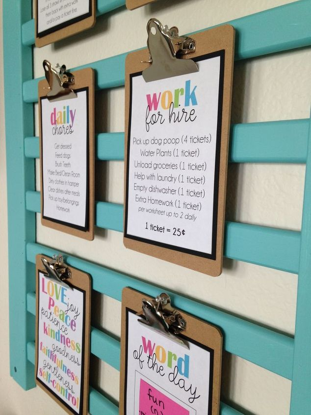 diy upcycle chore chart crib wall, bedroom ideas, diy, organizing, wall decor, woodworking projects