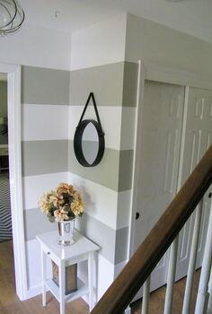foyer stripes painted horizontal makeover, foyer, wall decor