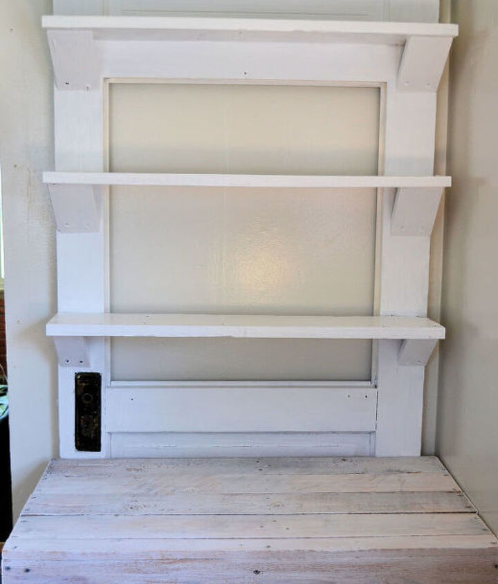Door with glass removed and shelves added
