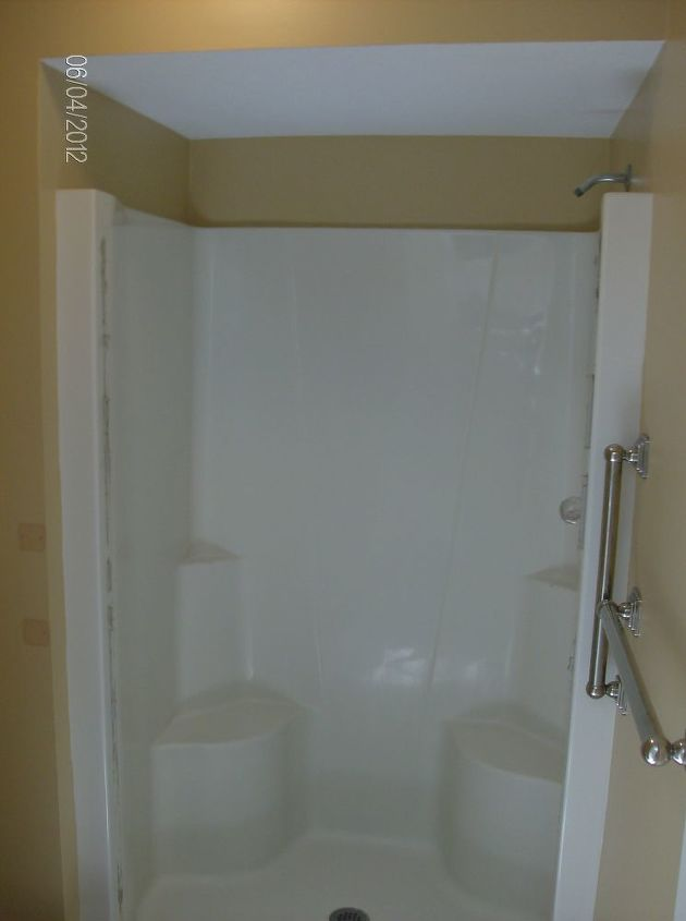 This is the old fiberglass shower to be replaced with a custom tile shower.