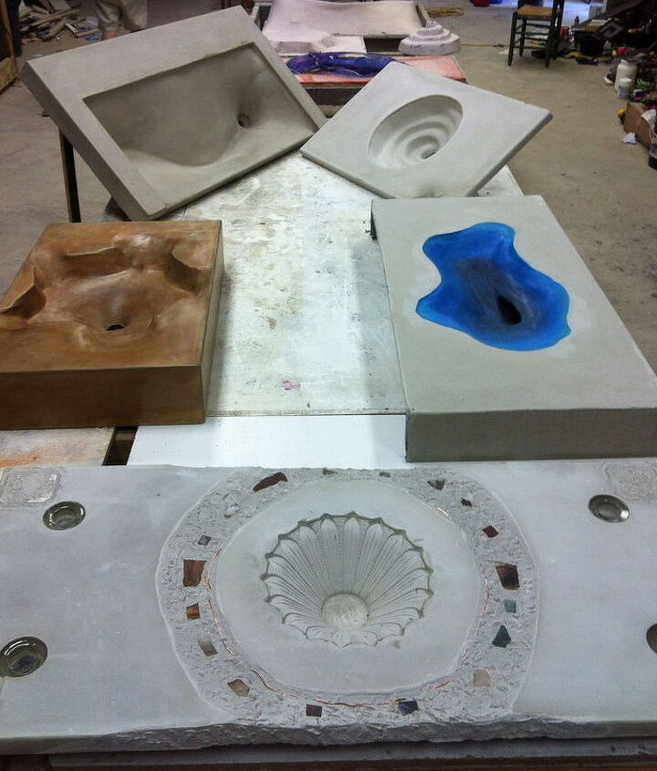 here are some concrete sinks we made last week, bathroom ideas, home decor, kitchen design
