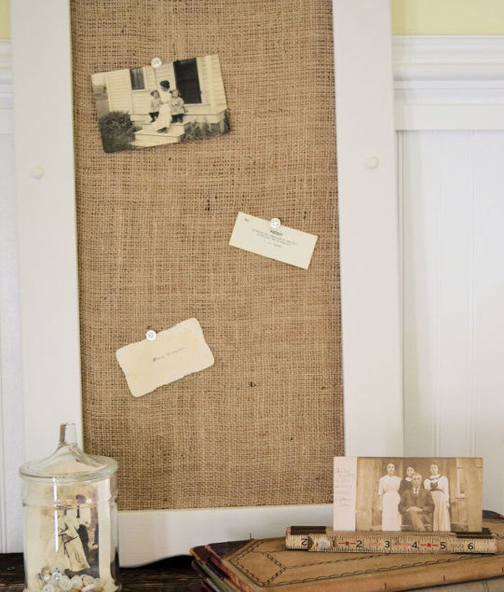 burlap covered cork board, chalkboard paint, crafts