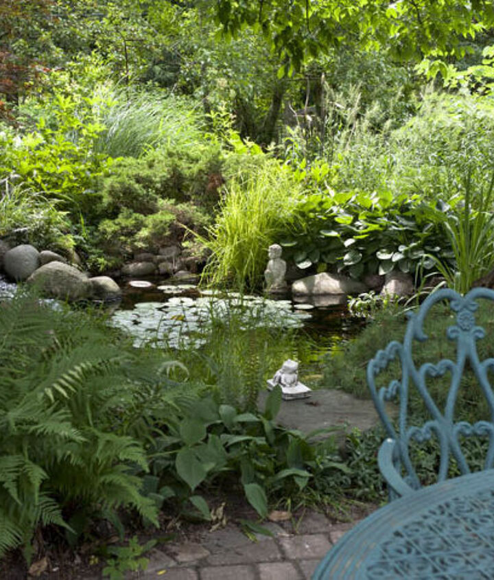 Lush plantings near a pond create a tropical outdoor space.