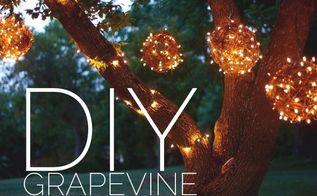 diy outdoor lighting balls grapevine, crafts, lighting, repurposing upcycling
