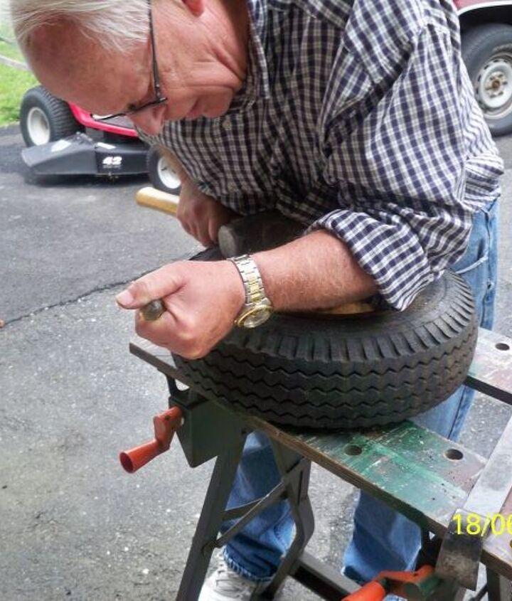 the leopart tire planter, gardening, repurposing upcycling, Grrrrrrunt prrrrry and whack