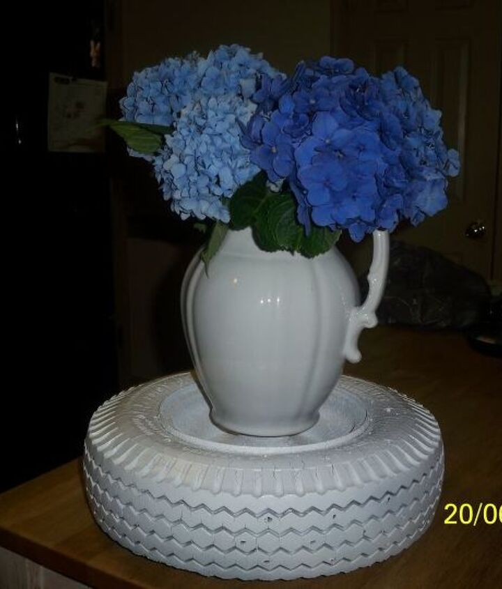 the leopart tire planter, gardening, repurposing upcycling, STEP II Paint entire tire RIM INCLUDED in your choice of base color Remember this pic it made it s debut as a Plant Stand when I featured my Hydrangeas Surely this tire has a more prestigious future remember the crazing