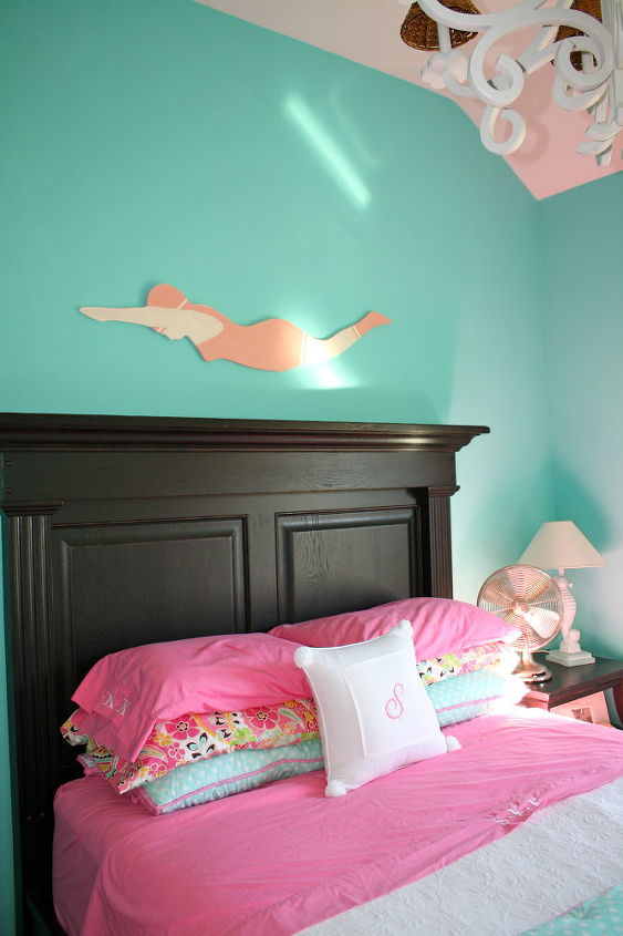 tiffany blue girl s room, bedroom ideas, home decor, The wood cut out of the Jantzen ad was done by White Flower Farmhouse