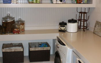 laundry room built ins, home decor, laundry rooms, organizing, shelving ideas, storage ideas, We incorporated shelving for storage in with the folding table over the w d