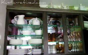 Updating Kitchen Cabinets With Mirror, Glass & Stain