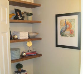 Storage In Small Half Bathroom, Bathroom Ideas, Diy, How To, Shelving Ideas