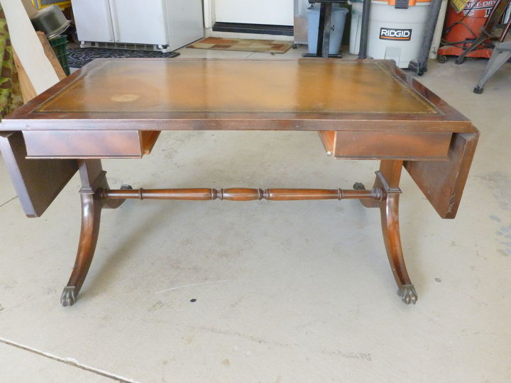 two antique pieces repurposed into one, painted furniture, This Antique coffee table had a cracked in one of the legs where it couldn t be repaired because of the location of crack so this piece was