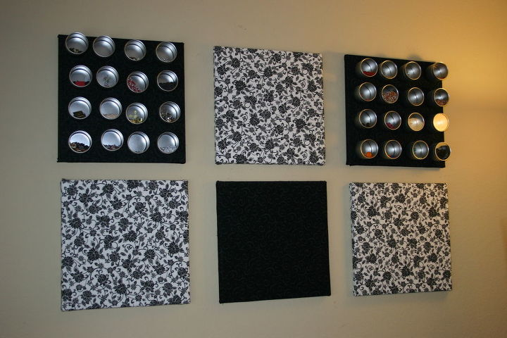 Magnetic and cork boards were covered in the same material as the valance to match