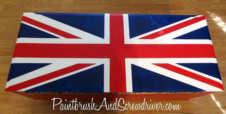 painted union jack trunk, home decor, painted furniture, Union Jack Flag