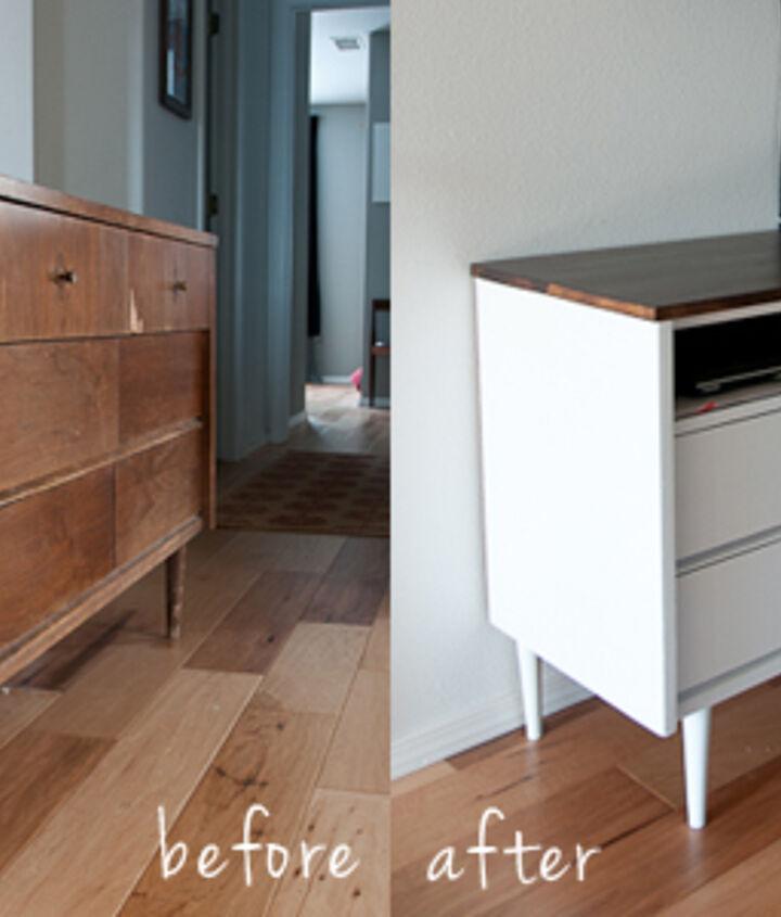 $15 mid century modern dresser turned into a media center.