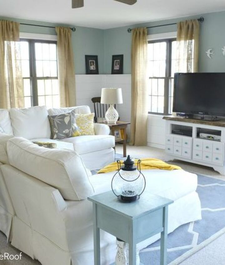 Our newly finished coastal cottage family room {multipurpose room}