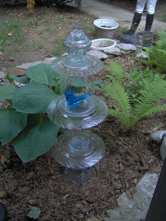 Repurposed Glassware Garden Topiaries Easy Project