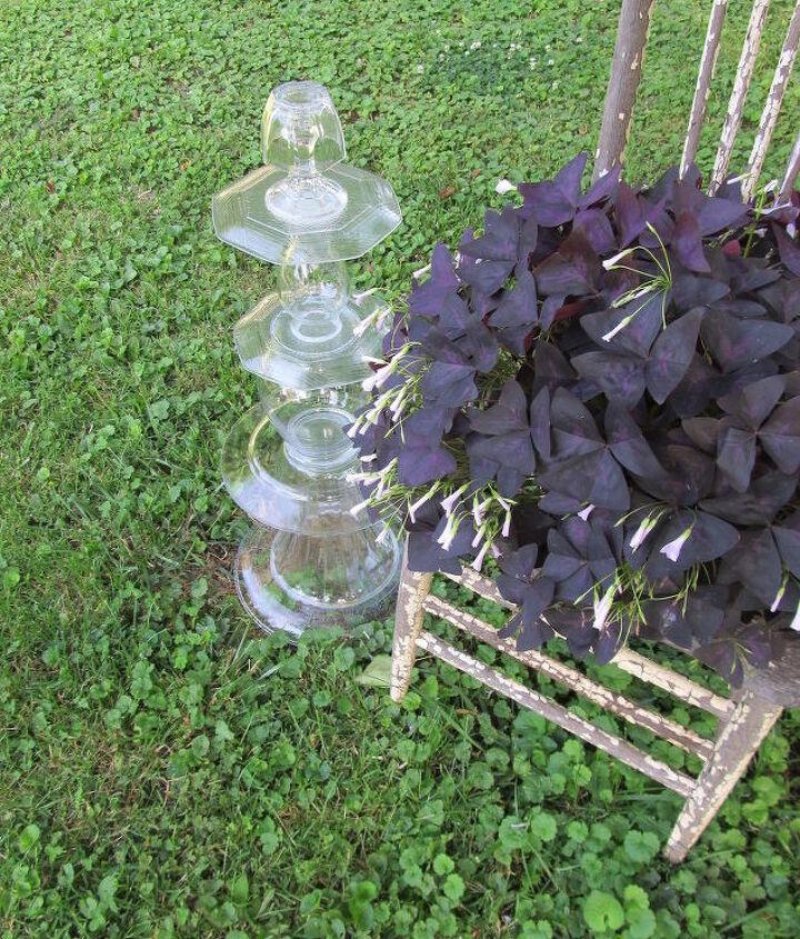 repurposed glassware garden topiaries easy project, flowers, gardening, repurposing upcycling