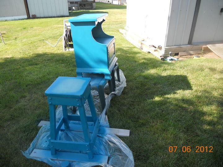 q my project with blue paint the i dont care howit turns out attitude, outdoor living, painting, 7 30 a m first coat before it got really hot