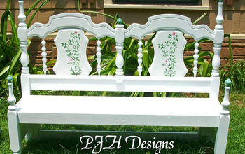 vintage bed transformed into a porch garden bench, painted furniture, repurposing upcycling, Bed to Garden Bench