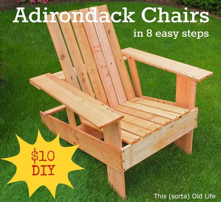 easy economical diy adirondack chairs 10 8 steps 2 hours, outdoor furniture,  outdoor living