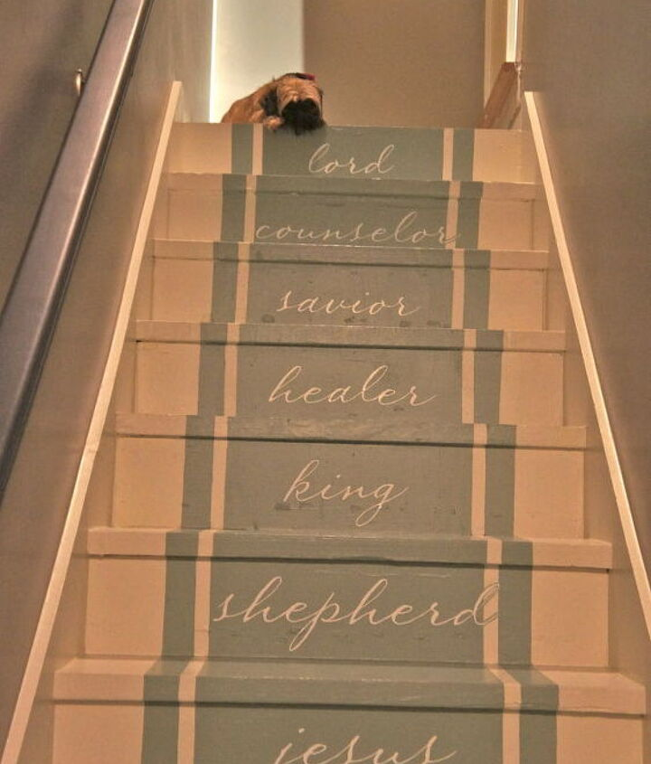 Finishes stairs with typography vinyl letters added