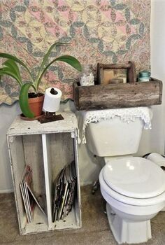 repurposed vintage bathroom, bathroom ideas, cleaning tips, organizing, painting, repurposing upcycling, crate used for magazine rack