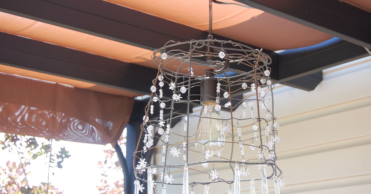 Turning a tomato cage into a chandelier hometalk aloadofball Choice Image