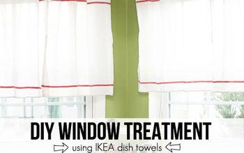 diy ikea hack window treatment dishtowel, repurposing upcycling, window treatments, windows