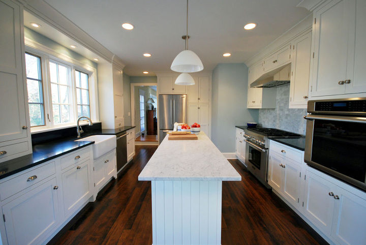 painted white kitchen cabinets for an elegant country kitchen, appliances, countertops, home improvement, kitchen cabinets, kitchen design