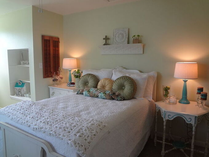 newly decorated guest room, bedroom ideas, home decor, painted furniture, The quilt shams and all bedding came from Home Goods My husband painted the walls with SW Celery